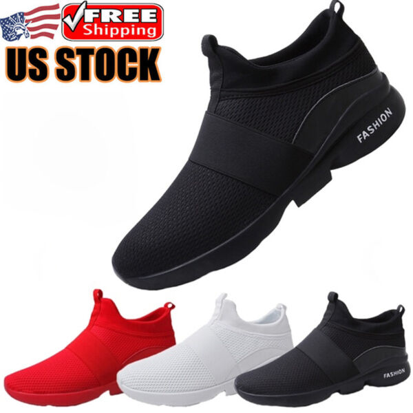 Men#x27;s Casual Slip on Tennis Shoes Outdoor Walking Athletic Running Sneakers Gym $22.99