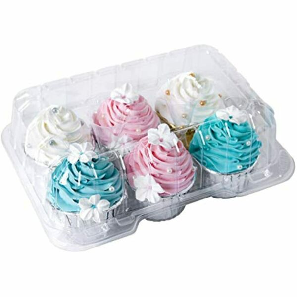 Clear Cupcake Boxes 6 Cavity HolderONE MORE Large Compartment Muffin Containers