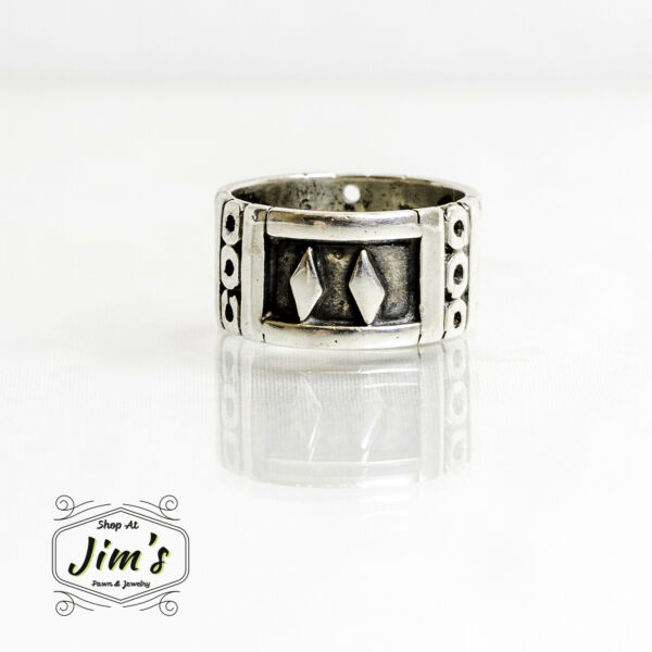 Runes Sterling Silver Ring Size 6 wide band $44.00