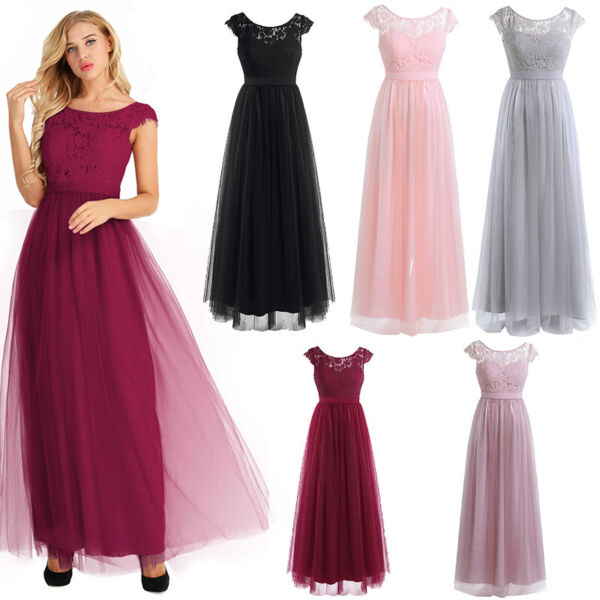 Women Ladies Lace Tulle Bridesmaid Dresses Long Evening Prom Cocktail Dress Gown