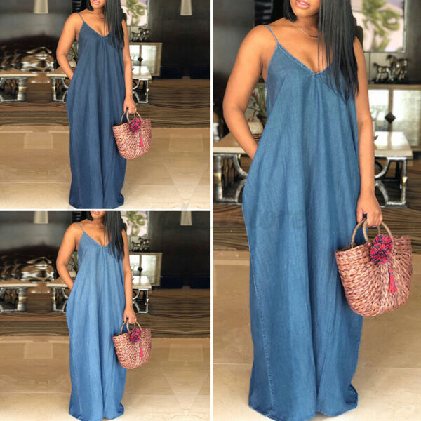 US STOCK Womens Strappy Denim Long Dress Oversized Kaftan Casual Vintage Dresses