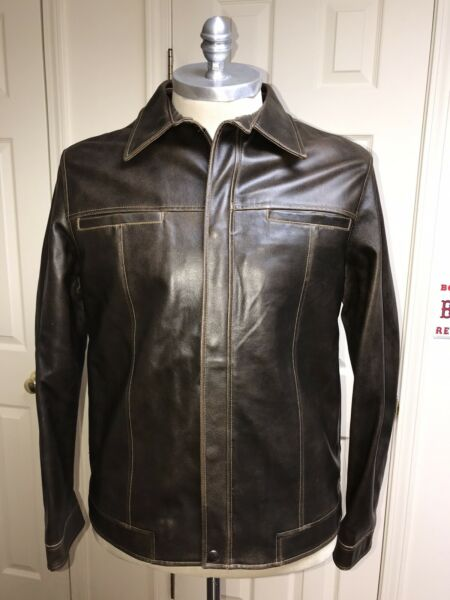 The GAP Heavyweight Genuine Leather Car Coat Bomber Biker Jacket Brown Mens Sz L $60.00