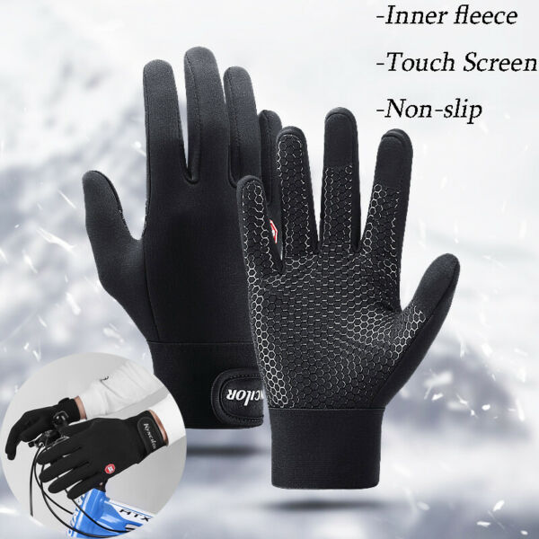 Bike Gloves Winter Thermal Warm Non slip Full Finger Cycling Glove Touch Screen $9.98
