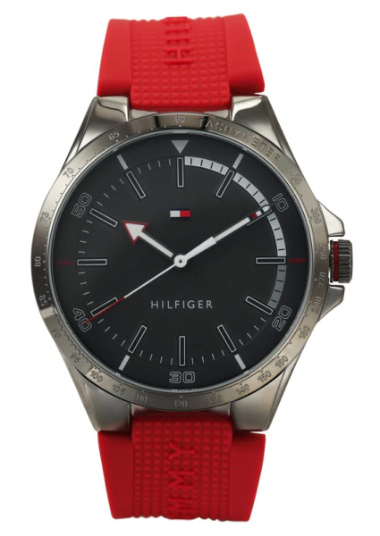 Tommy Hilfiger Men#x27;s Riverside Analog Red Silicone Gray Dial Watch 1791527 $72.49