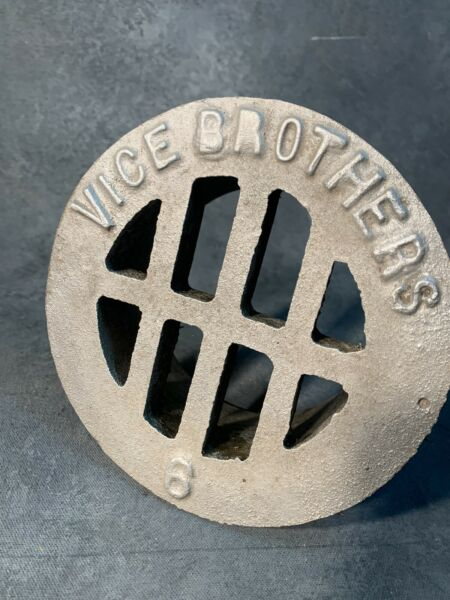 Vice Brothers Vintage Round Cast Industrial Floor Drain Antique Grate Commer