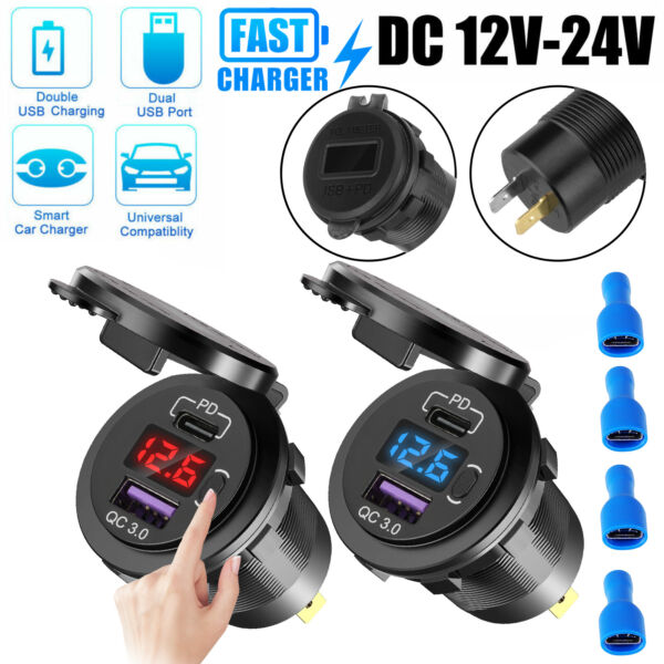 QC 3.0PD Dual USB Fast Car Charger Socket Outlet For Boat Truck w LED Voltmeter $12.48