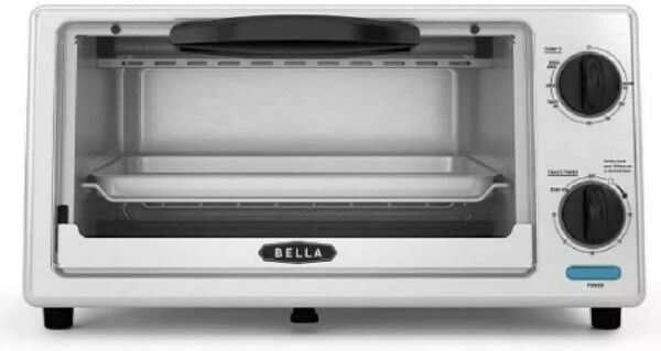 "Bella 4 slice Toaster Quartz Oven Toast Bake Broil Fits 9"" Pizza"