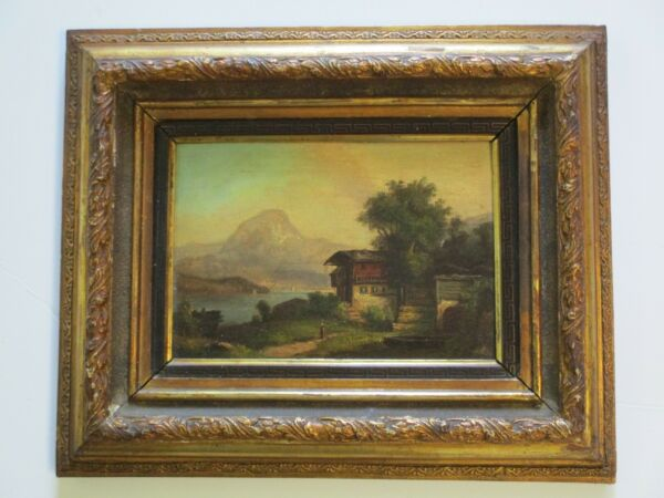 ANTIQUE 19TH CENTURY OIL PAINTING MOUNTAIN LAKE VIEW LANDSCAPE 1880#x27;S MYSTERY