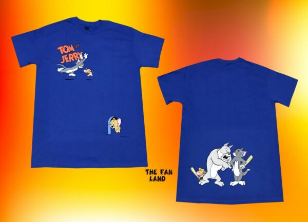 New Tom and Jerry Two Sided Hanna Barbera 1940 Blue Men#x27;s Vintage T Shirt