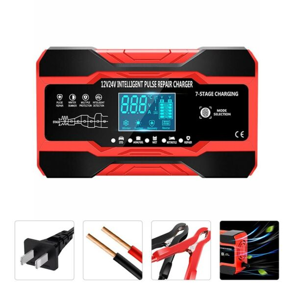 Smart Automatic Car Battery Charger 12 24V 8A Touch Screen Pulse Repair AGM GEL $30.99