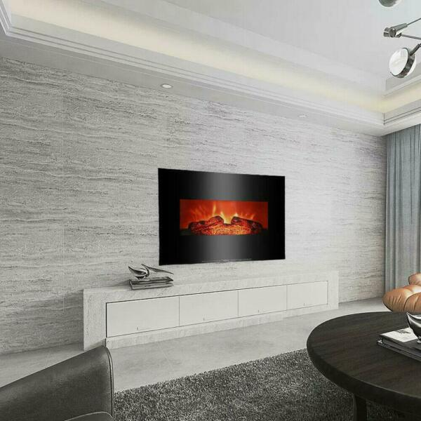 New Adjustable 1400W 700W Electric Fireplace Wall Mounted Log Flame Heater 26quot;