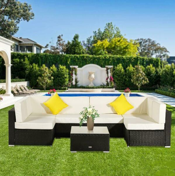 7PCS Outdoor Patio Sectional Furniture Wicker Rattan Sofa Set Garden Backyard US