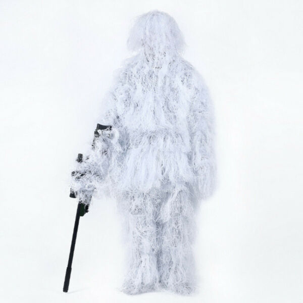 Winter 3D Snowfield Ghillie Suit Tactical Woodland Hidden Camouflage Clothes 5pc