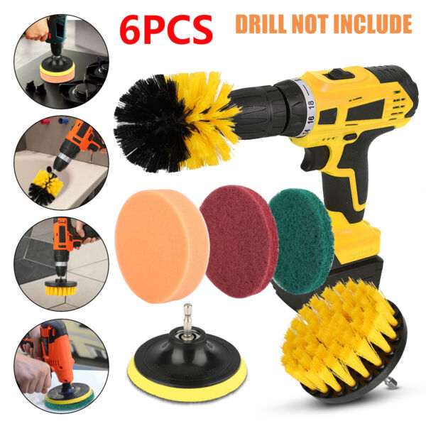 6PCs Home Drill Brush Attachment Power Scrubber Car Cleaning Kit Combo Scrub Tub