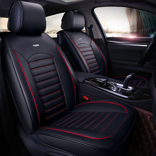 5 Seats Universal Car Seat Covers Deluxe PU Leather Seat Cushion Full Set Cover $68.98