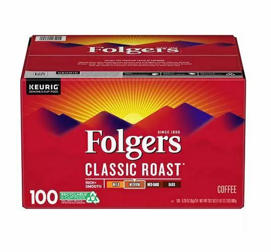 Folgers Classic Roast Coffee K Cups 100 ct. New