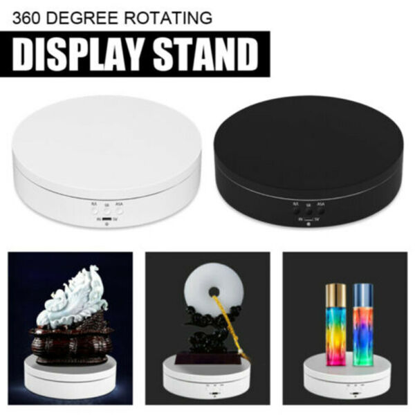 360° Rotating Turntable Electric Jewelry Watch Display Stand Box 3D Art Holder $15.59