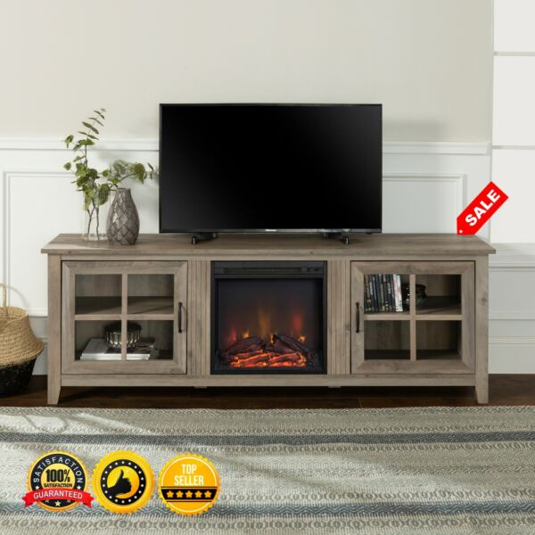 TV Stand w Electric Fireplace Farmhouse for TV up to 82quot; Entertainment Console