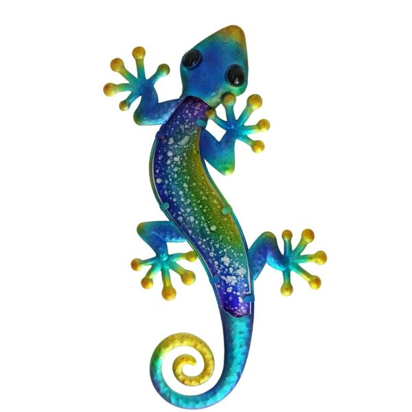 Colorful Lizard metal and glass wall decor