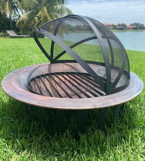 Frontgate Classic Copper Fire Pit 40 inch Steel Base with Safeguard and Cover.