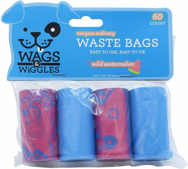 Large Dog Waste Bags Watermelon Scented Dog Poop Bags 6 Rolls of 90 Bags $4.99