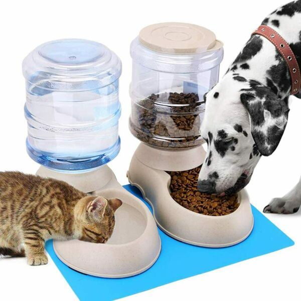 automatic pet food and water dispenser for large dogs cat dog combo set feeder $48.29