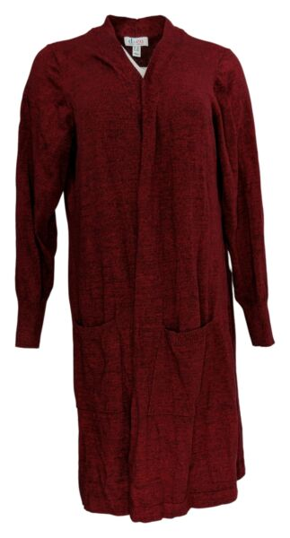 Denim amp; Co. Women#x27;s Plus Sweater 1X Long Sleeve Open Front Cardigan Red A381047 $22.99
