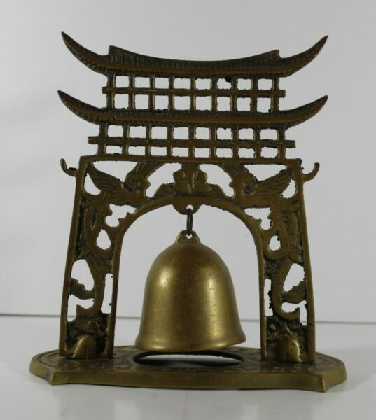 Vintage Brass Pagoda Temple Bell Gong
