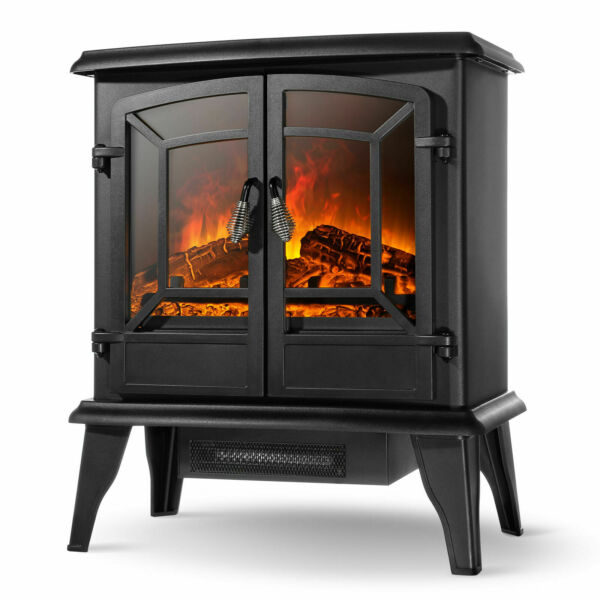 20quot; Infrared Quartz Electric Fireplace Heater 1400W 2 Drs Stove Realistic Flame