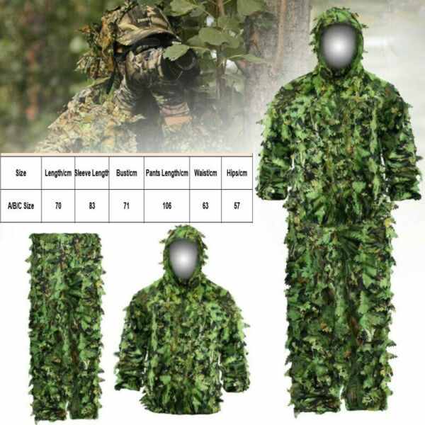 3D Leafy Ghillie Suit Camo Hunting Suit Camouflage Jacket Pants Breathable