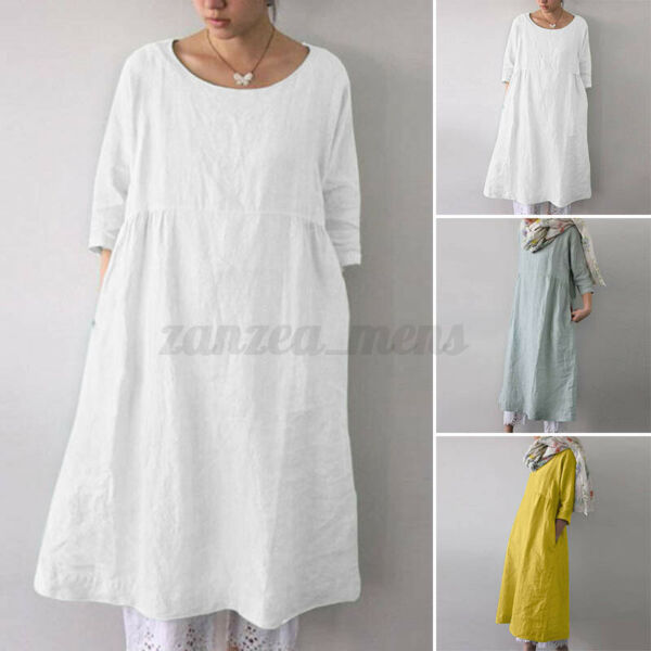 US STOCK Women Linen Cotton Solid Mini Shirt Dress Summer Beach Sundress Tops US $13.49
