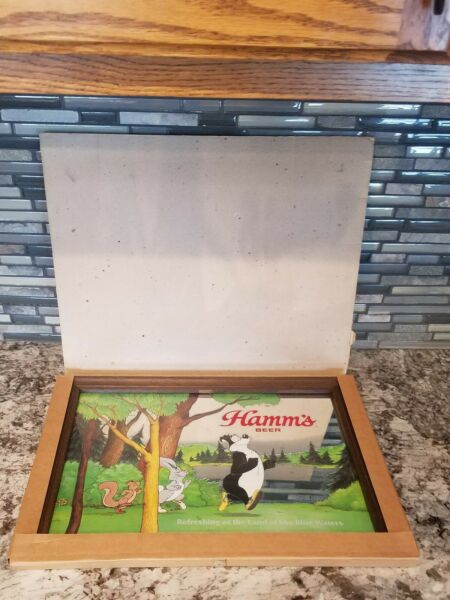 NEW IN BOX Rare 1984 Hamms Beer Bear mirror 3 dimensional overlay style mirror