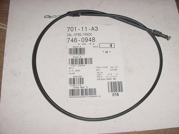 Cub Cadet Snowblower Steering Cable #746 0948 746 0948A