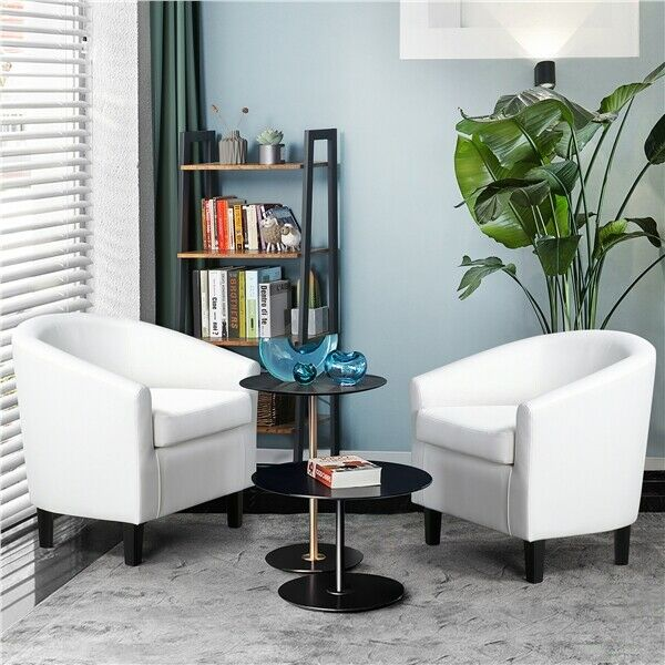 White Club Chair For Living Room Bedroom Reception Room Faux Leather Renewed