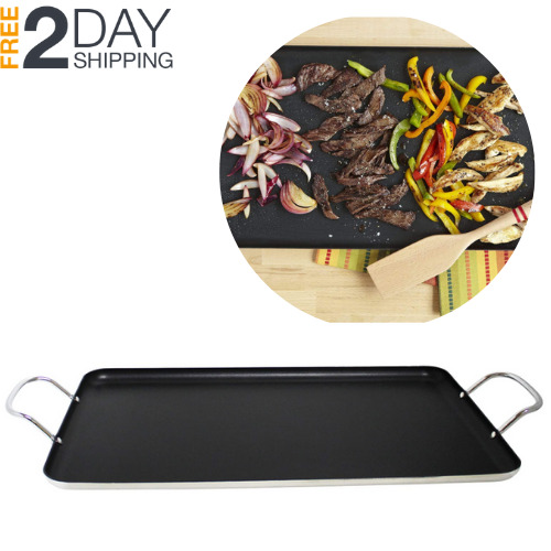 Burner Griddle Nonstick Stove Top Pan Outdoor For 2 Burners Gas Range Grill BBQ $27.29