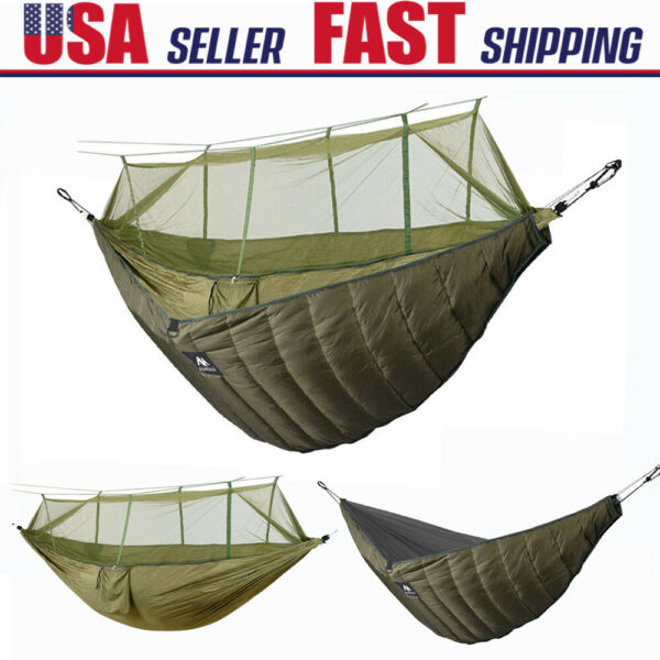 2 Person Mosquito Net Camping Hiking Hammock Ultralight Under Quilt Warm Blanket $69.99