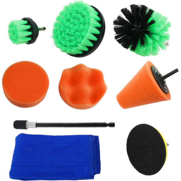 9Pc Drill Brush Scrubber Cleaning Set for Car Wheels Power Cone Buffing Sponge