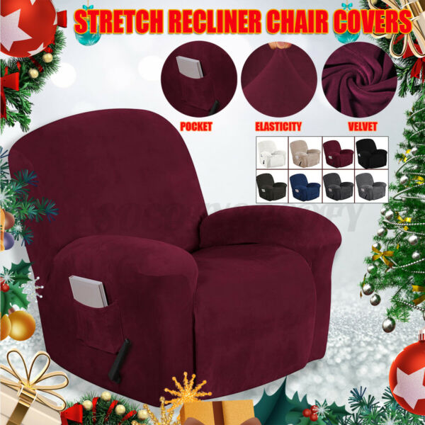Velvet Stretch Slipcover Sofa Cover Recliner Furniture Couch Armchair Protector $28.99