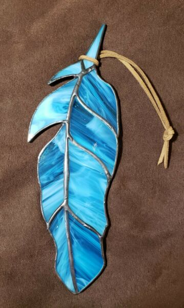 Tropical bird stained glass feather Sun catcher 7 1 2quot; long X 2 1 2quot; wide