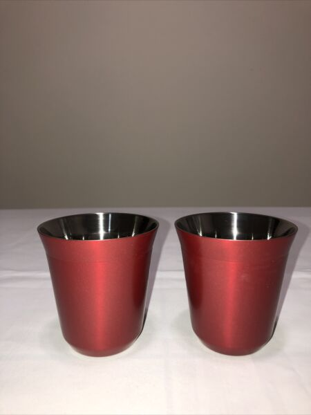 Nespresso Pixie Collection 2 Red Lungo Double Stainless Steel Cups New