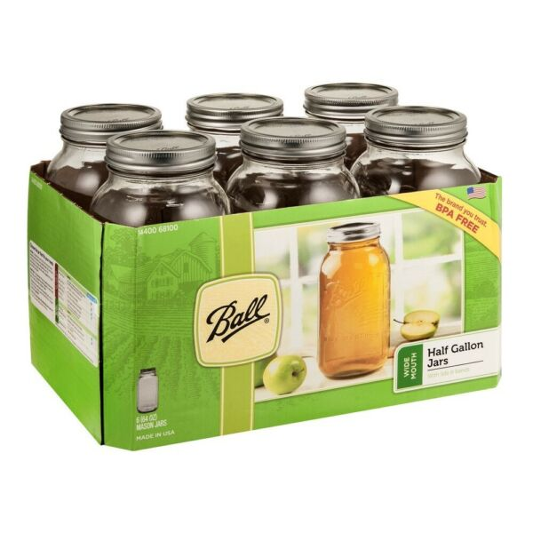 Ball Glass Canning Mason Jars with Lids amp; Bands Wide Mouth 64 oz 6 Count SHIP