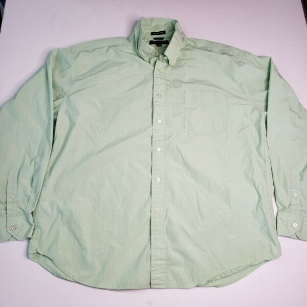 Mens XXL Tommy Hilfiger Golf Light Green Longsleeve Button Down 80s 2 Ply Cotton $16.99
