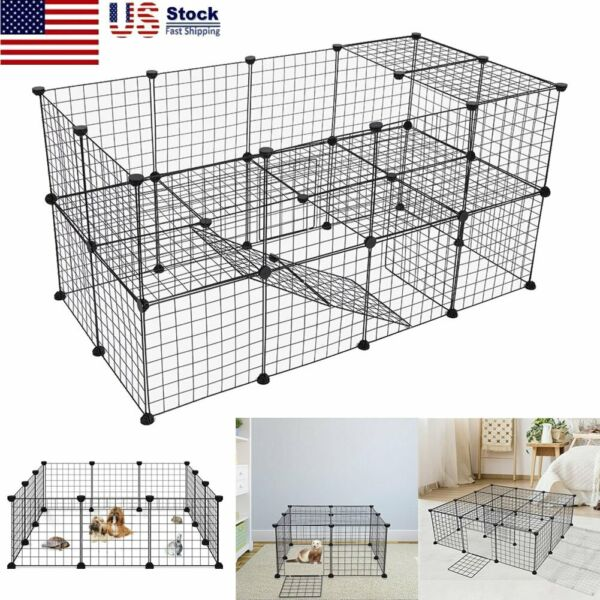 14quot; 36 Panels Tall Dog Playpen Large Crate Fence Pet Play Pen Exercise Cage Box