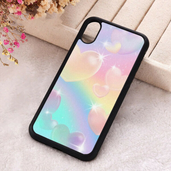 Rainbow Bubble Hearts Phone Case Silicone iPhone X 11 Pro Max Kawaii Love Cover AU $28.35