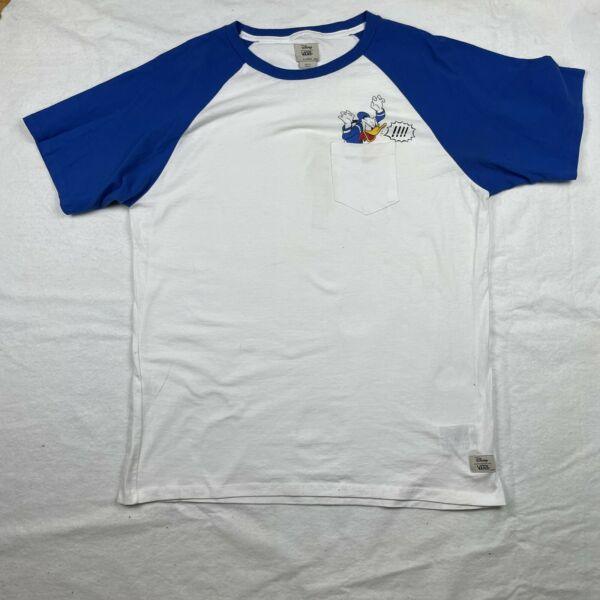 VANS X Disney Donald Duck Short Sleeve T Shirt Men#x27;s Size XL White Blue $34.99