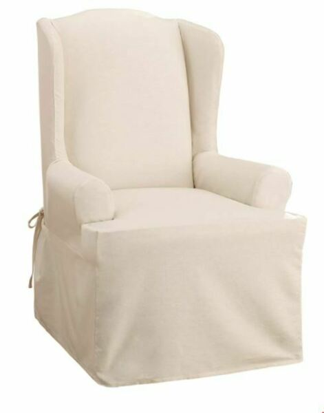 Sure Fit Cotton Duck Wing Chair T Cushion Slipcover NATURAL Relaxed Fit $39.99