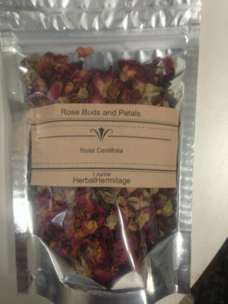 Rose buds and petals dried red. 1 ounce package.