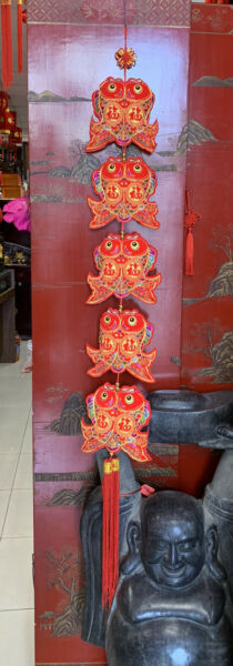 Feng Shui Chinese New Year Charm Good Luck Charm With Double Fish 55 inch Long $29.99