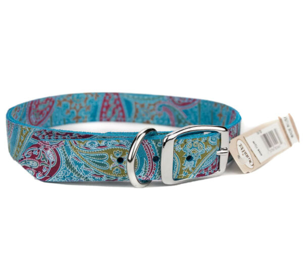 Dog Leather Collar Turquoise Paisley 24quot; Omni Pet $12.72