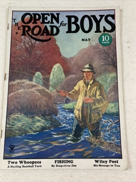 Vintage THE OPEN ROAD FOR BOYS MAGAZINE SPORTS PULP May 1935 Fly Fishing $10.95